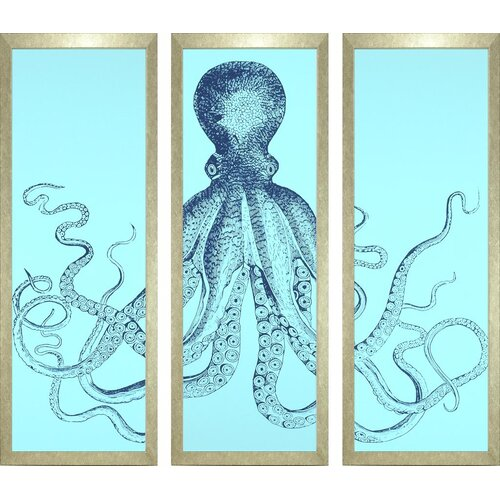 Seaside Living Octopus Triptych 3 Piece Framed Graphic Art Set