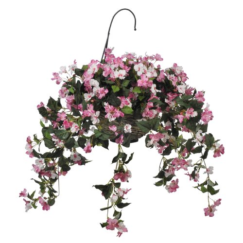 House of Silk Flowers Inc. Artificial Pink Impatient Hanging Basket