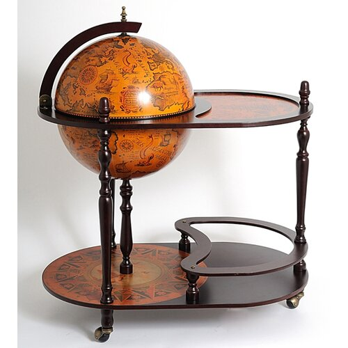 Old Modern Handicrafts Globe Drinks Trolley 420mm-Red