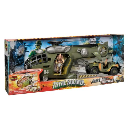 Corps 3 Piece Total Soldier Flying Fortress Transport Helicopter Play Set