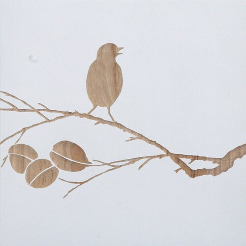 Carved Bird On Branch Wall Painting Print