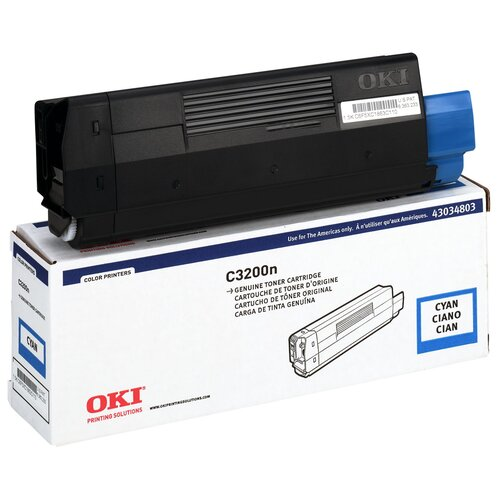 43034803 OEM Toner Cartridge, 1500 Page Yield, Cyan