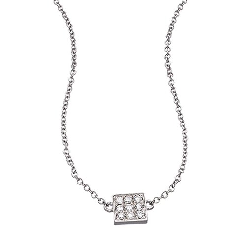 Be Square Rhodium Plated Cubic Zirconia Pendant Necklace
