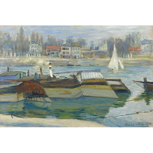 iCanvasArt 'Peniches a Asnieres 1873' by Claude Monet Painting Print on Canvas