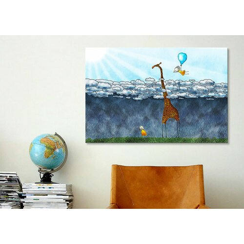 iCanvasArt Kids Children Giraffe over The Clouds Canvas Wall Art