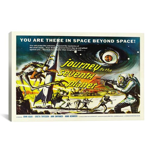 iCanvasArt Journey To The Seventh Planet Vintage Movie Poster Canvas Print Wall Art
