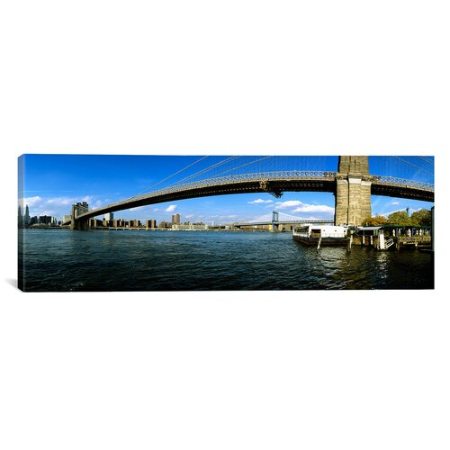 iCanvasArt Panoramic Suspension Bridge Across a River, Brooklyn Bridge, East River, Manhattan, New York City, New York State Photographic Print on Canvas