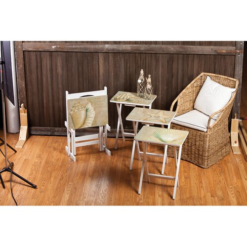 Cape Craftsmen Coastal Chic A La Plage TV Tray with Stand