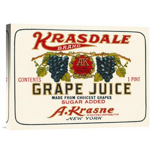 Bentley Global Arts 'Kransdale Brand Grape Juice' by Retrolabel Vintage Advertisement on Canvas