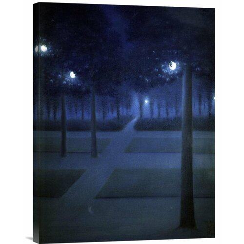 'Night In The Park Royal, Brussels' by William Degouve de Nuncques Painting Print on Canvas ...