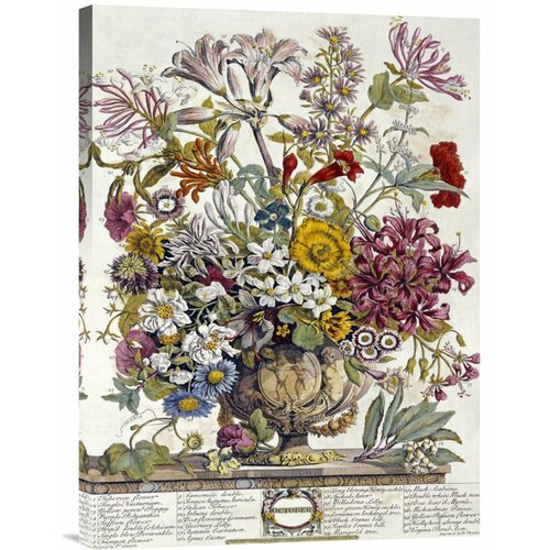 'October - Twelve Months of Flowers' by Robert Furber Painting Print on Canvas