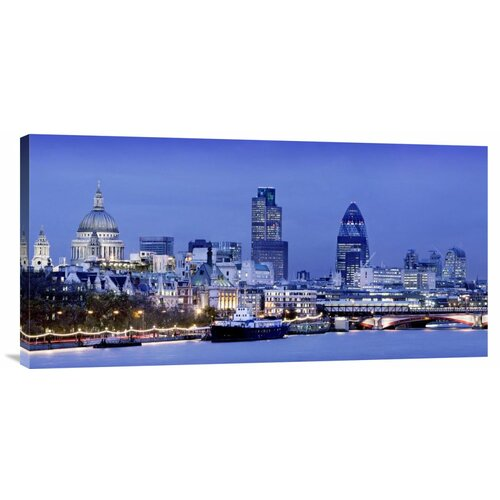 'River Thames and London Cityscape at Dusk' Photographic Print on Canvas