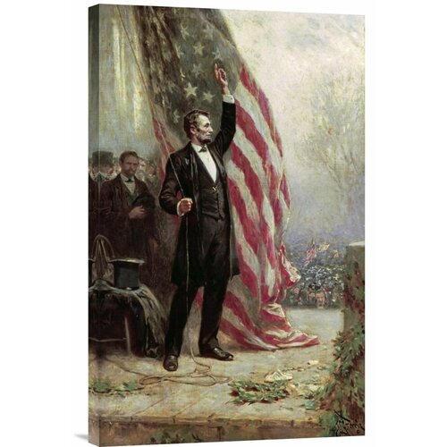 Bentley Global Arts 'Lincoln at Independence Hall' by Jean Leon Gerome Ferris Painting Print on Canvas
