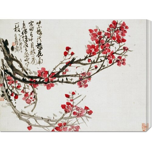 'Plum Blossoms' by Wu Changshuo Painting Print on Canvas