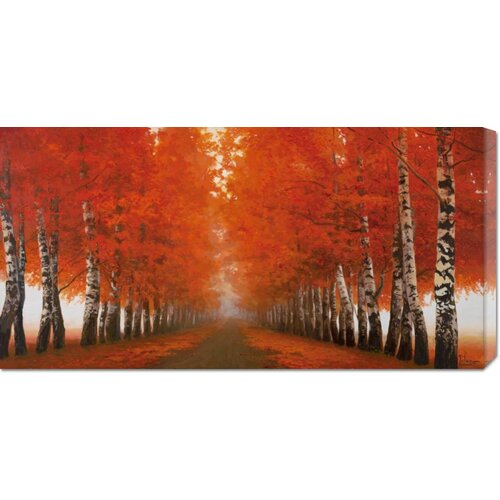 'Viale di Betulle' by Adriano Galasso Painting Print on Canvas