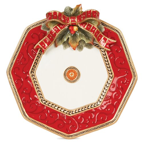 "Fitz and Floyd Damask Holiday 14"" Platter"