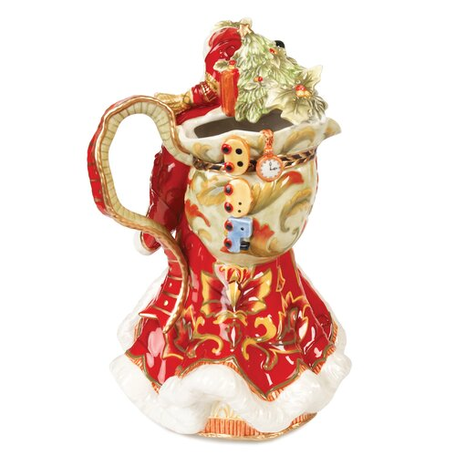 Fitz and Floyd Damask Holiday Santa Pitcher