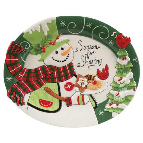 "Fitz and Floyd Holly Hat Snowman Cookie 10.25"" Oval Platter"