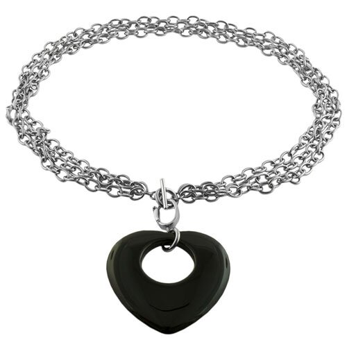 Fremada Jewelry Stainless Steel Multi Strand Heart Toggle Necklace