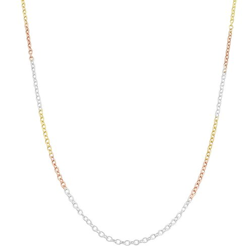 Tri-color Gold over Sterling Silver Round Cable Chain