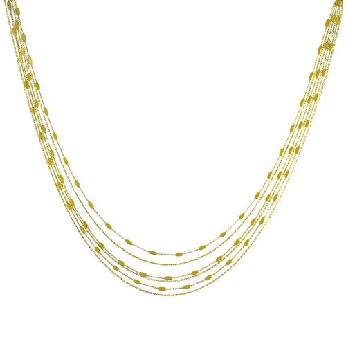 Gold over Sterling Silver 6-strand Bead Station Necklace