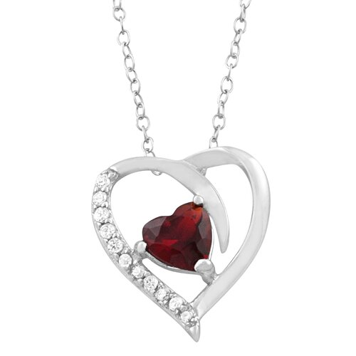 Rhodium Plated Sterling Silver CZ April Heart Necklace