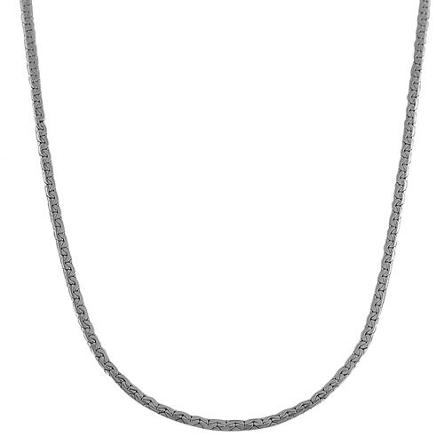 White Gold Hollow Flat C Chain