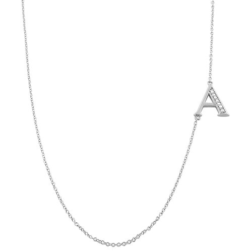 Rhodium Plated Sterling Silver and Cubic Zirconia Initials Necklace