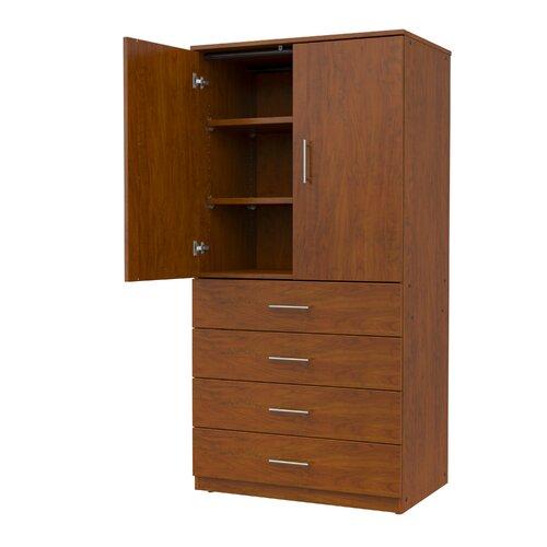 mobile casegoods tall storage cabinet with locking drawers and 2 adjustable shelves wayfair. Black Bedroom Furniture Sets. Home Design Ideas