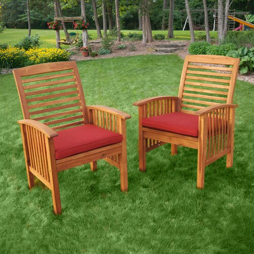 Home Loft Concept Wood Lounge Chairs in Brown (Set of 2)