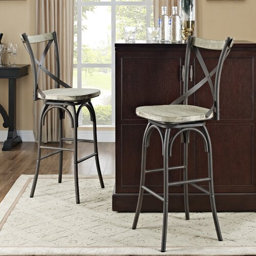 Reclaimed Deluxe Barstool with Cushion (Set of 2)