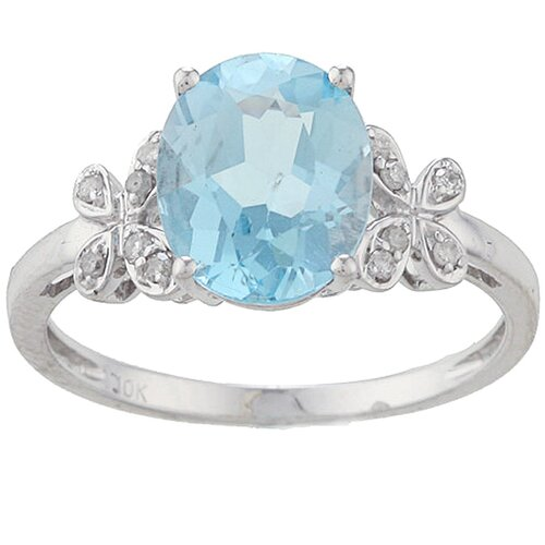 Designer Diamonds White Gold Oval Cut Gemstone and Diamond Ring