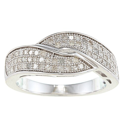 Sterling Silver Pave Set Diamond Anniversary Bypass Ring