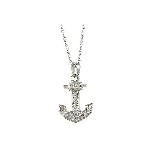 White Gold Diamond Anchor Pendant