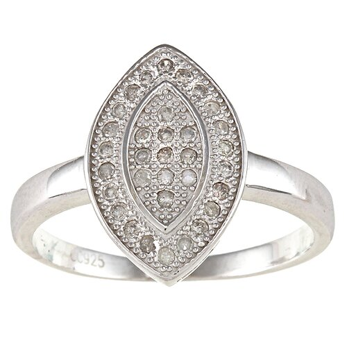 Sterling Silver Pave Set Diamond Marquise Ring