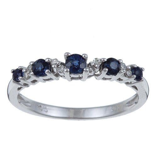White Gold Genuine Sapphire and Diamond Ring