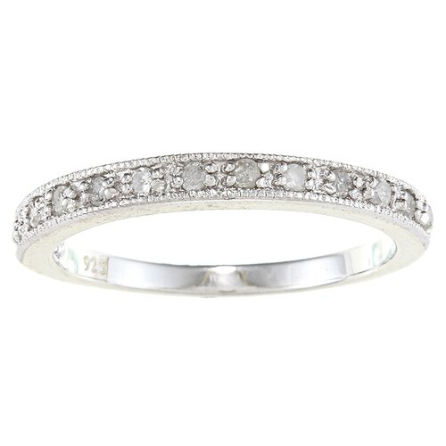 Sterling Silver Milgrain Diamond Band