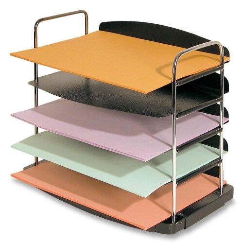 "Buddy Products Desk Tray,5-Pocket,Horizontal,12""x8-1/2""x11-1/4"",Black"
