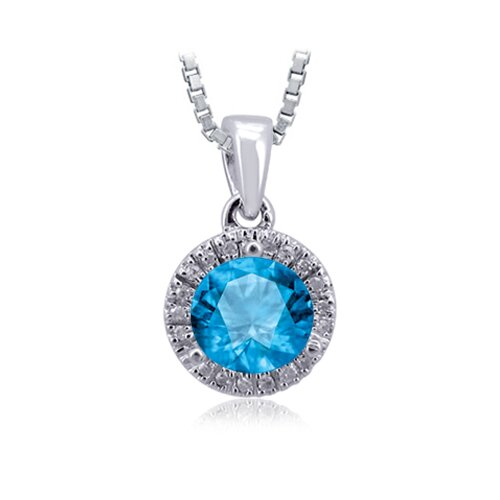 Jewelers Club Sterling Silver Halo Diamond Pendant