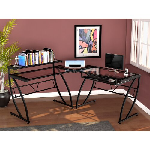 Z-Line Designs Feliz Glass L-Shaped Computer Desk