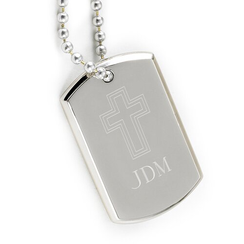 JDS Personalized Gifts Personalized Gift Inspirational Engraved Cross Dog Tag Pedant