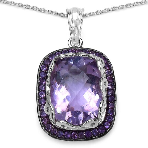 925 Sterling Silver Cushion Cut Amethyst Pendant