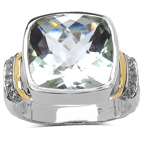 JewelzDirect 925 Sterling Silver Cushion Cut Green Amethyst Ring