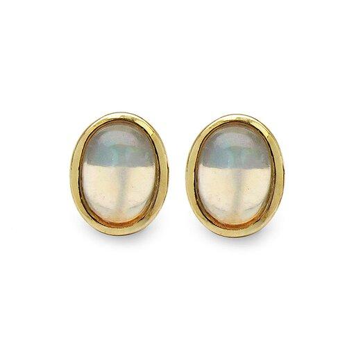 14k Yellow Gold Plated Oval Cut Ethiopian Opal Stud Earrings