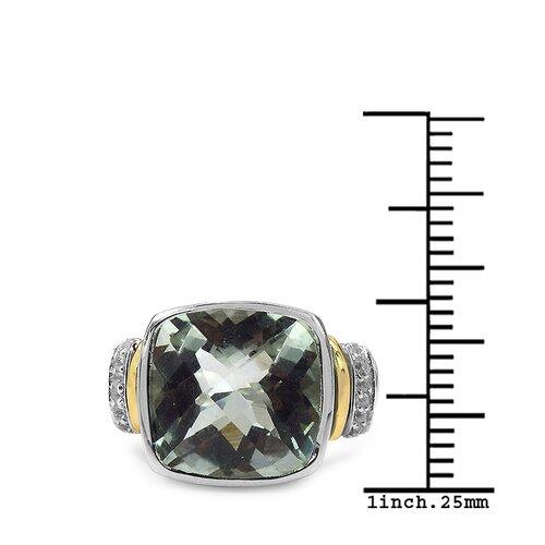 JewelzDirect 925 Sterling Silver Cushion Cut Green Amethyst Ring