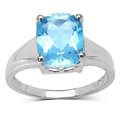 JewelzDirect 925 Sterling Silver Emerald Cut Topaz Ring