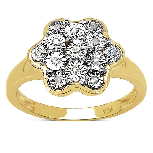 925 Sterling Silver Diamond Flower Ring