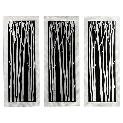 Gilmore 3 Piece Silver Birch Graphic Art Plaque Set (Set of 3)