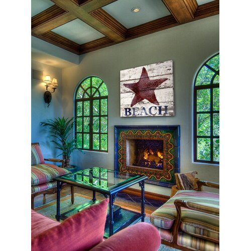 Jen Lee Art Starfish Beach Reclaimed Wood - White Barn Siding Art