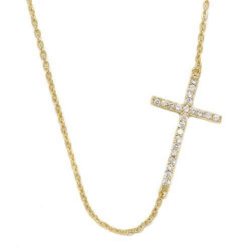 DK Sterling Sterling Silver Gold Sideways Cross Necklace
